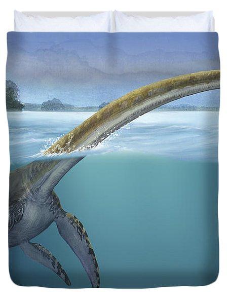 A Elasmosaurus Platyurus Swims Freely Duvet Cover by Sergey Krasovskiy