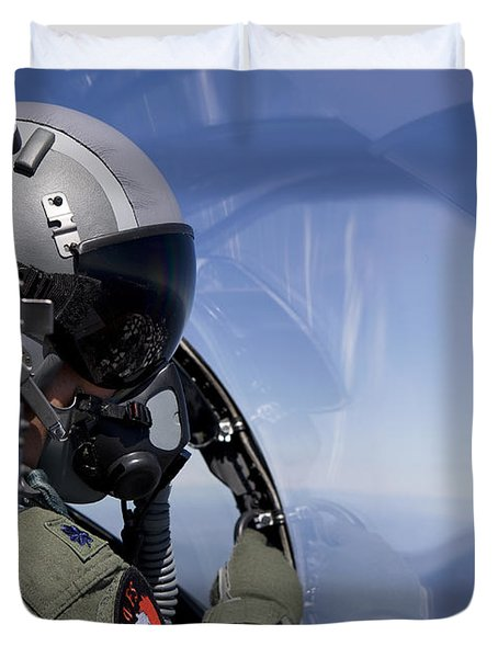 A F-15 Pilot Looks Over At His Wingman Duvet Cover by HIGH-G Productions