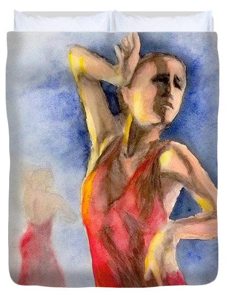 Duvet Cover featuring the painting A Flamenco Dancer  2 by Yoshiko Mishina