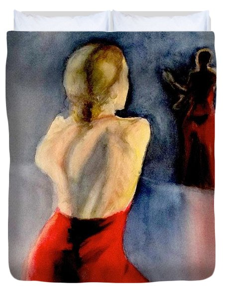 Duvet Cover featuring the painting A Flamenco Dancer  3 by Yoshiko Mishina