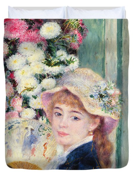 A French Girl With A Fan Duvet Cover by Pierre Auguste Renoir