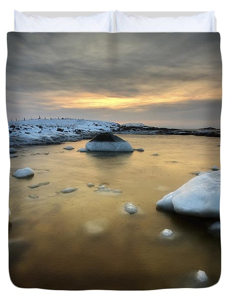 A Frozen, Rusty Bay On Andoya Island Duvet Cover by Arild Heitmann