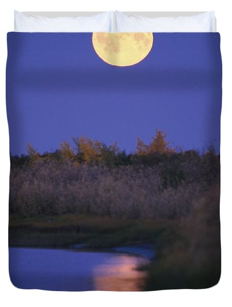 A Full Moon Is Reflected Duvet Cover