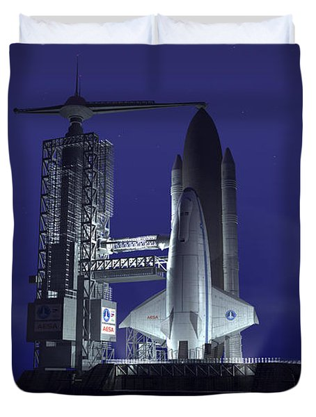 A Futuristic Space Shuttle Awaits Duvet Cover by Walter Myers