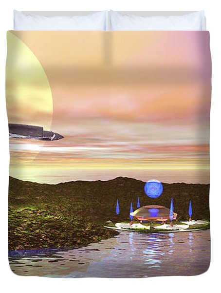A Futuristic World On Another Planet Duvet Cover by Corey Ford