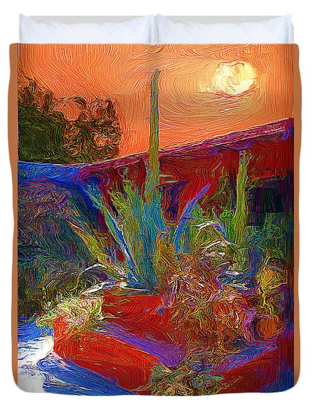 Duvet Cover featuring the photograph A Garden In Pozos by John  Kolenberg