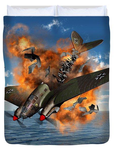 A German Heinkel Bomber Crashes Duvet Cover by Mark Stevenson