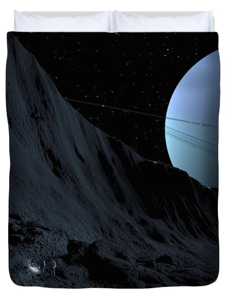 A Gigantic Scarp On The Surface Duvet Cover by Ron Miller