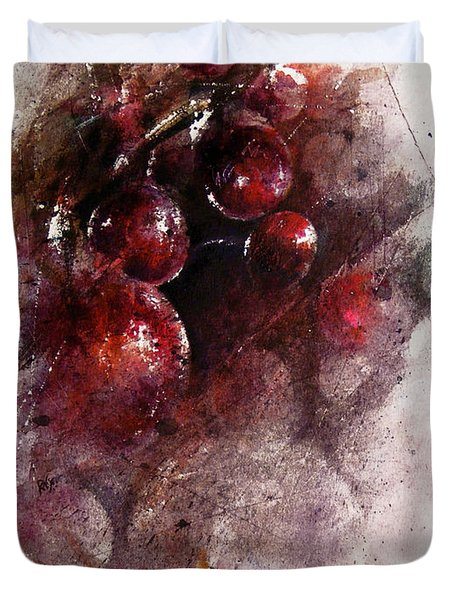 A Grape Mystery Duvet Cover by Rachel Christine Nowicki