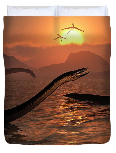 A Group Of Plesiosaurs During Earths Duvet Cover