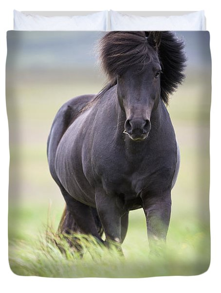 A Horse With Its Mane Blowing In The Duvet Cover by David DuChemin
