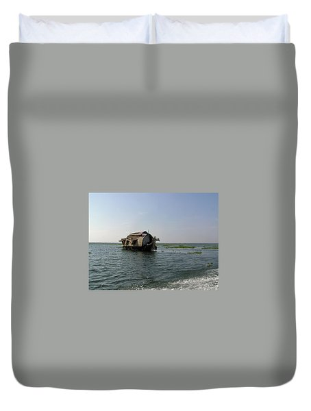 A Houseboat Moving Placidly Through A Coastal Lagoon In Alleppey Duvet Cover by Ashish Agarwal