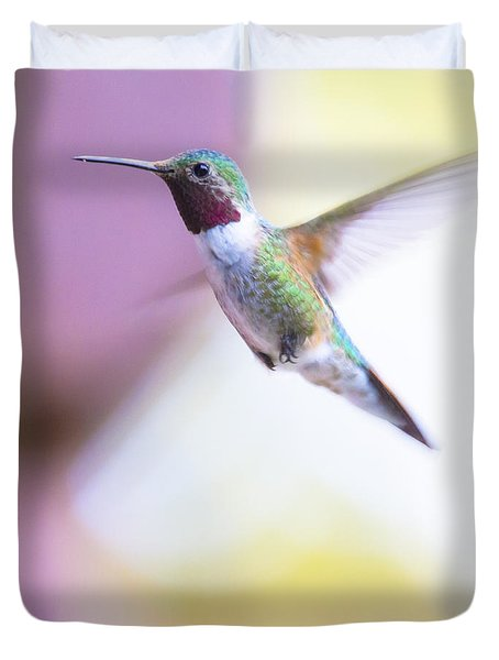 A Humming Bird In The Rocky Mountains Duvet Cover by Ellie Teramoto