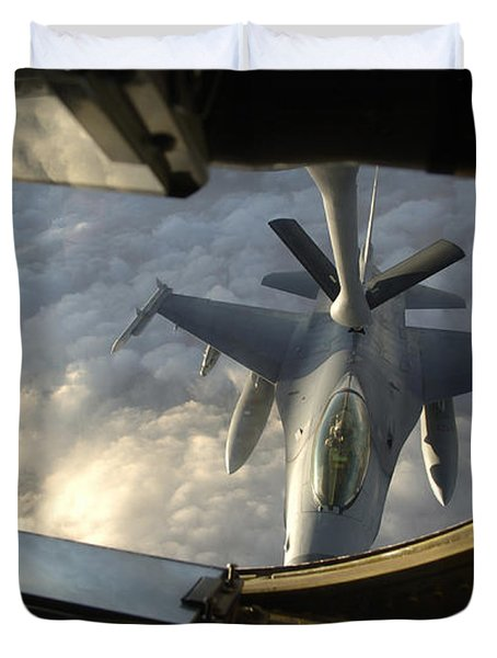 A Kc-135 Stratotanker Connects With An Duvet Cover by Stocktrek Images