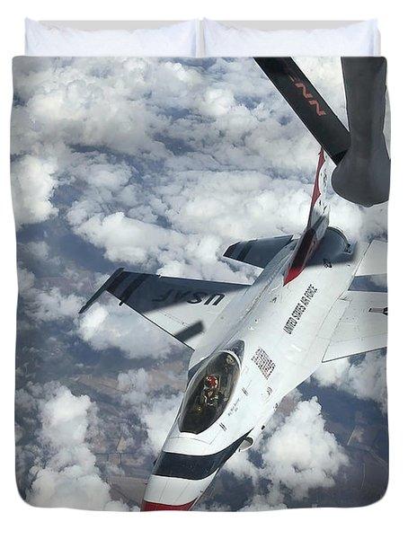 A Kc-135 Stratotanker Refuels An Air Duvet Cover by Stocktrek Images
