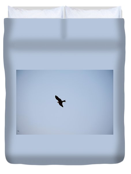 A Kite Flying High In The Sky Duvet Cover by Ashish Agarwal