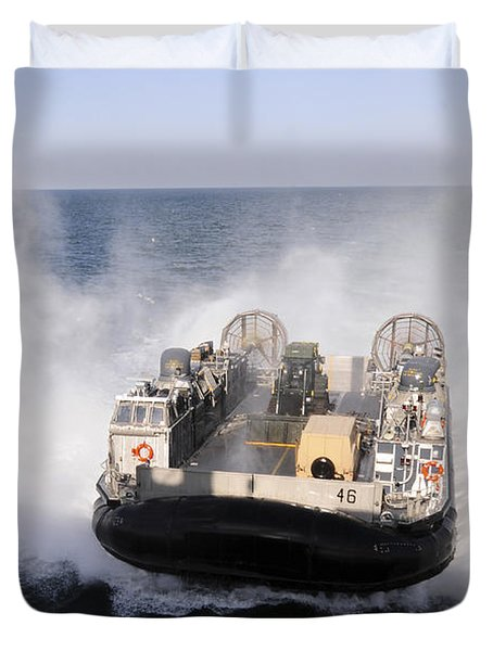 A Landing Craft Utility From Assault Duvet Cover by Stocktrek Images