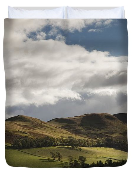 A Landscape With Rolling Hills And Duvet Cover by John Short