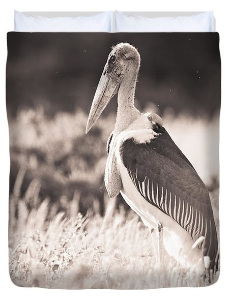 A Large Bird Stands In The Grass Duvet Cover by David DuChemin
