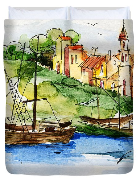 A Little Fisherman's Village Duvet Cover