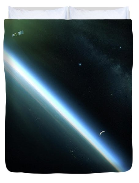 A Lone Satellite Drifts Silently Duvet Cover by Kevin Lafin