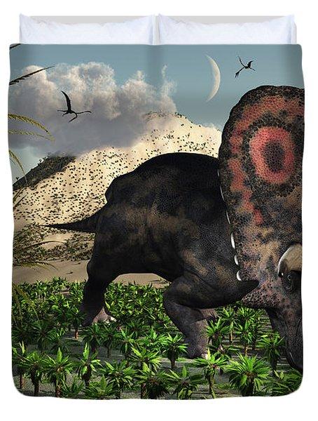 A Lone Torosaurus Dinosaur Feeding Duvet Cover by Mark Stevenson