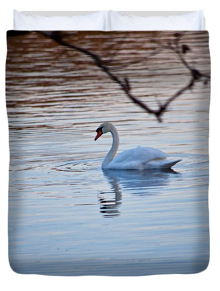 A Lonely Swans Late Afternoon Duvet Cover by Karol Livote