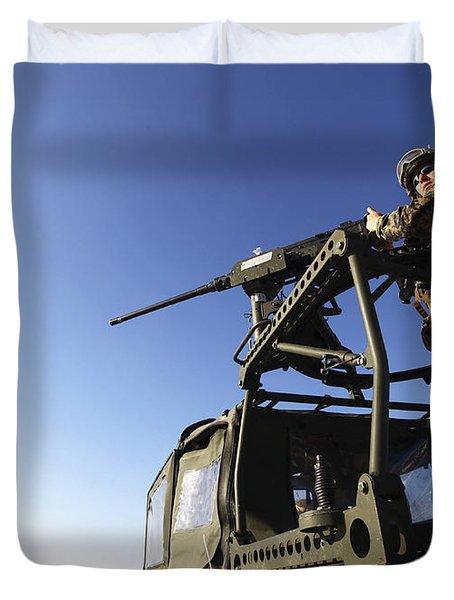 A Machine Gunner Mounts A M-2 Duvet Cover by Stocktrek Images