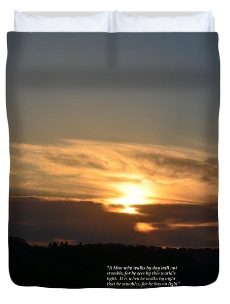 A Man Who Walks By Day Duvet Cover by Maria Urso
