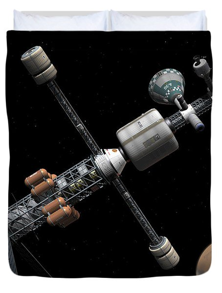 A Manned Mars Cycler Space Station Duvet Cover by Walter Myers
