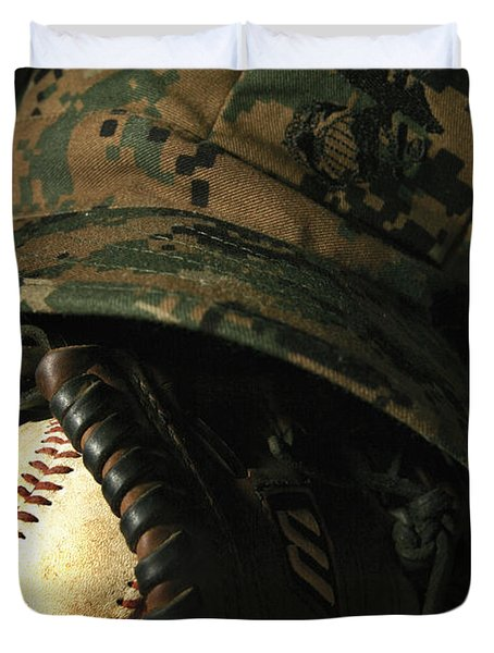 A Marines Athletic Gear Duvet Cover by Stocktrek Images