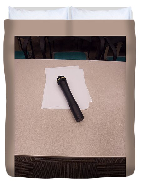 A Microphone On The Lectern Of A Presentation Room Duvet Cover by Ashish Agarwal