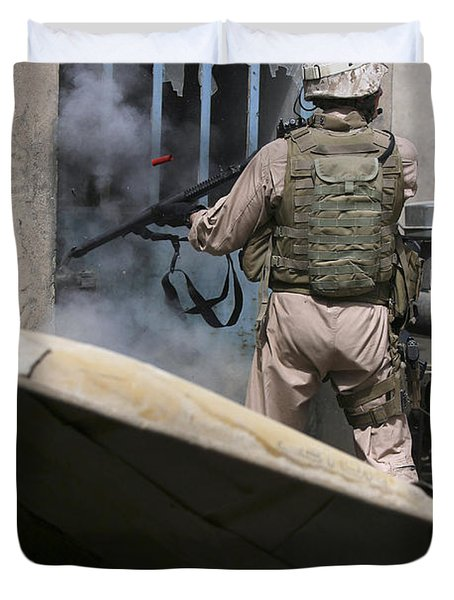 A Military Policeman Uses A Breaching Duvet Cover by Stocktrek Images