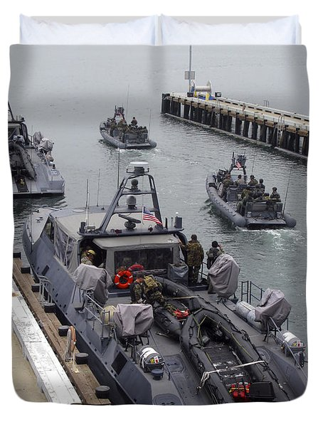 A Mk-v Special Operations Craft Tied Duvet Cover by Michael Wood