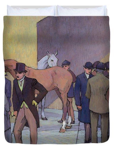 A Morning At Tattersall's Duvet Cover by Robert Polhill Bevan
