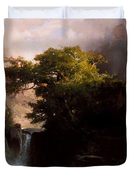 A Mountain Stream Duvet Cover by Thomas Moran