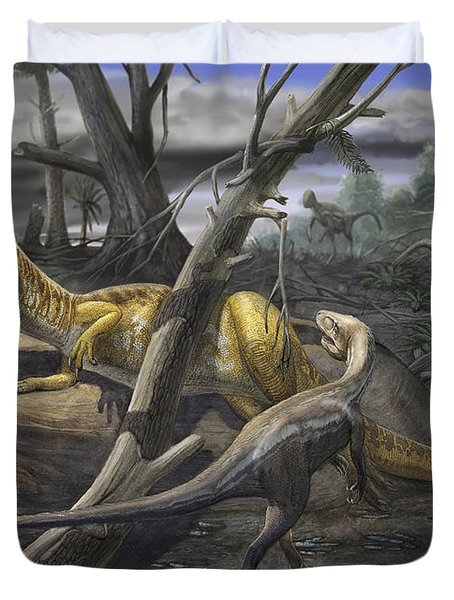 A Neovenator Salerii Is Approached Duvet Cover by Sergey Krasovskiy