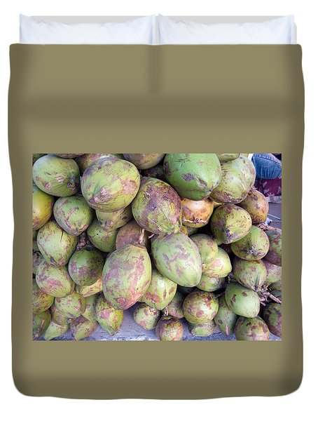 A Number Of Tender Raw Coconuts In A Pile Duvet Cover by Ashish Agarwal
