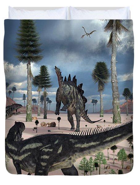 A Pair Of Allosaurus Dinosaurs Confront Duvet Cover by Mark Stevenson