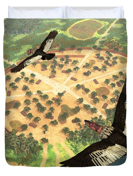 A Pair Of Andean Condors Fly Over An Duvet Cover by Walter Myers