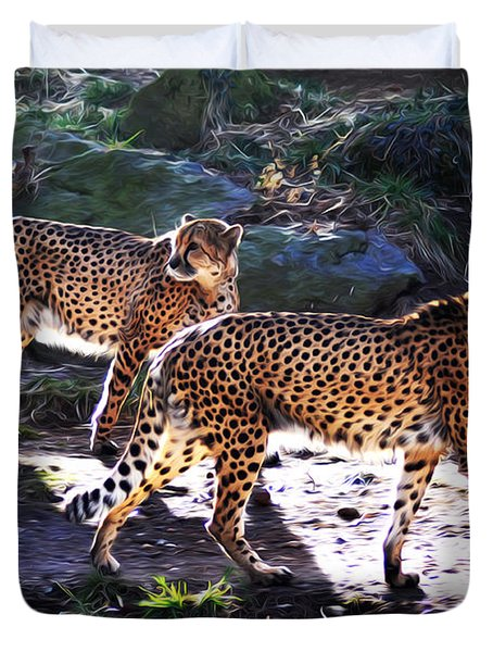 A Pair Of Cheetah's Duvet Cover by Bill Cannon