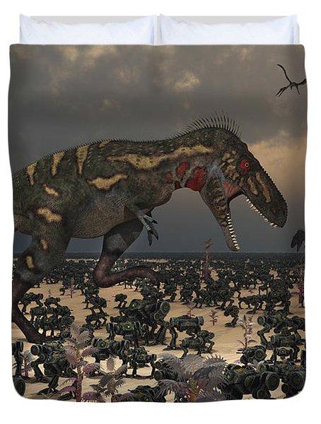 A Pair Of Nanotyrannus Amongst An Duvet Cover by Mark Stevenson