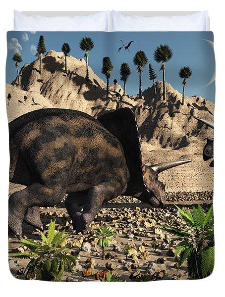 A Pair Of Torosaurus Dinosaurs Fight Duvet Cover by Mark Stevenson