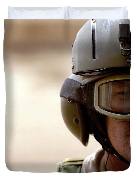 A Pararescueman Checks Duvet Cover by Stocktrek Images