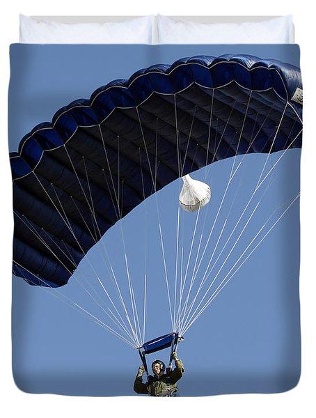 A Paratrooper Descends Through The Sky Duvet Cover by Stocktrek Images