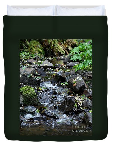 Duvet Cover featuring the photograph A Peaceful Stream by Chalet Roome-Rigdon