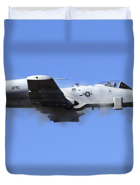 A Pilot In An A-10 Thunderbolt II Fires Duvet Cover by Stocktrek Images