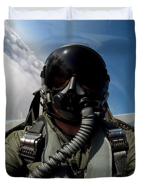 A Pilot In The Cockpit Of An F-16 Duvet Cover by Stocktrek Images