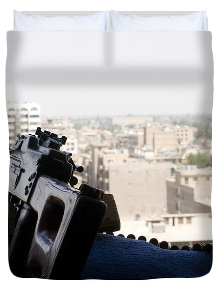 A Pk 7.62mm Machine Gun Nest On Top Duvet Cover by Terry Moore