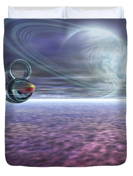 A Probe From Earth Is Sent To Jupiter Duvet Cover by Corey Ford